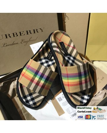Burberry Vintage Rainbow Series Brown Casual Slippers