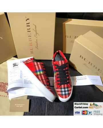 Burberry Vintage Rainbow Series Red Casual Shoes Low