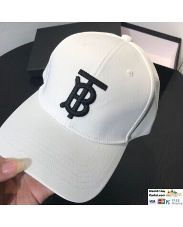 Burberry White Embroidered Baseball Hat With TB Logo