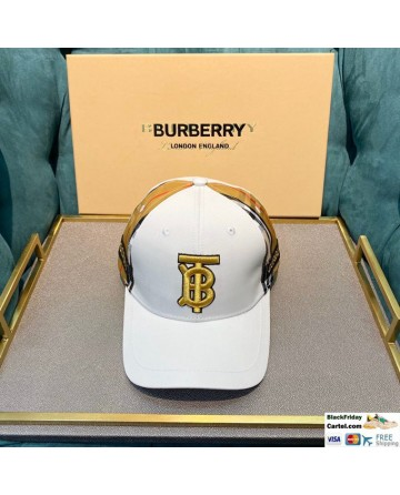 Burberry White Striped Baseball Cap With Gold Embroidered Logo