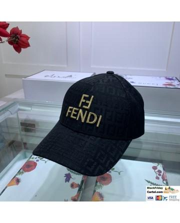 Fendi Black Baseball Cap With FF Logo - Adjustable