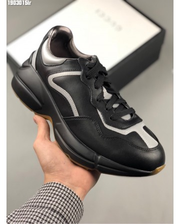 Gucci Apollo Black Leather Sneakers Retro Dad Shoes