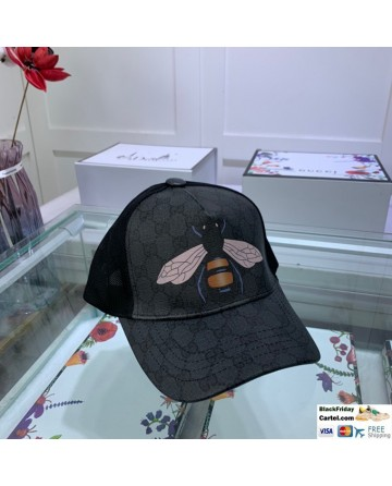 Gucci Black Printed Baseball Cap With Bee Markers
