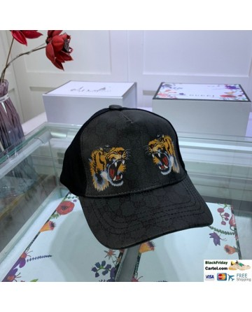 Gucci Black Printed Baseball Cap With Tiger Head