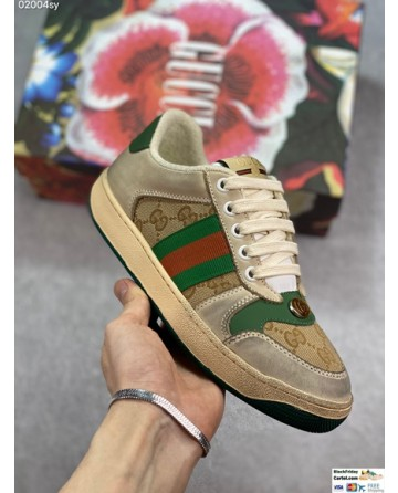 Gucci Canvas-trimmed Leather Men's Screener Sneaker