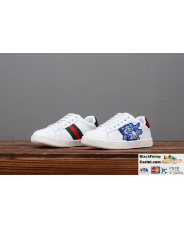 Gucci Children's Leather Shoes With Blue Classic Embroidery