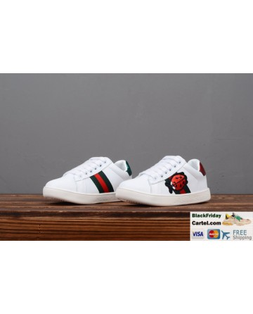 Gucci Children's Leather Shoes With Ladybug Embroidery