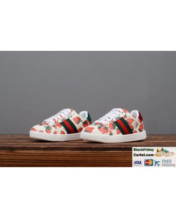 Gucci Children's Leather Shoes With Strawberry Decor