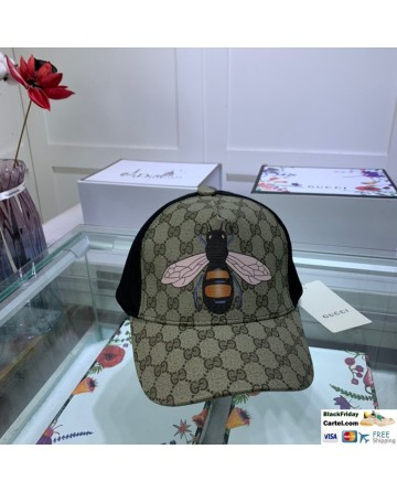 Gucci Printed Baseball Cap With Bee Markers
