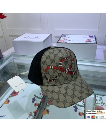 Gucci Printed Baseball Hat With Snake Markers