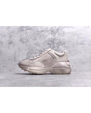 Gucci Rhyton Vintage White Leather Sneakers High Sole