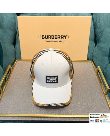 High Quality Burberry Striped Baseball Cap White Online