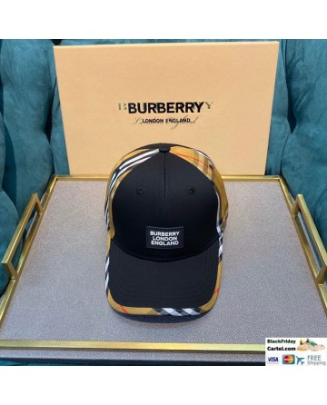 High Quality Burberry Striped Baseball Hat Black Online