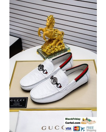 High Quality Gucci 2019 New Men's White Peas Shoes