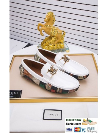 High Quality Gucci 2019 Summer New Men's White Peas Shoes
