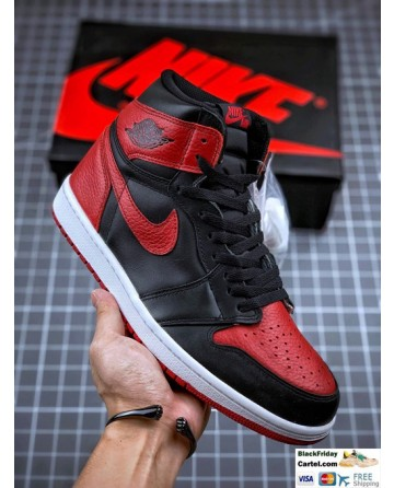 High Quality Nike Air Jordan 1 Retro High Sneakers Black & Red