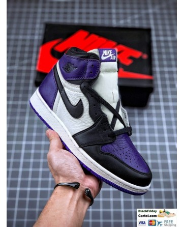 High Quality Nike Air Jordan 1 Retro High Sneakers Purple & White & Black