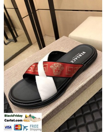 High Quality Versace 2019 Classic Explosion Men's Date Red Sandals