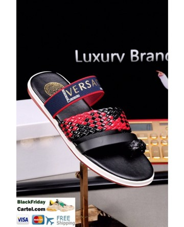 High Quality Versace 2019 Summer New Men's Red&Black Sandals Slippers