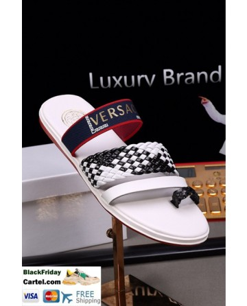 High Quality Versace 2019 Summer New Men's White&Black Sandals Slippers