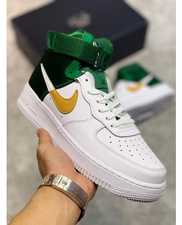 High Top Nike Air Force 1 Shoes White & Green