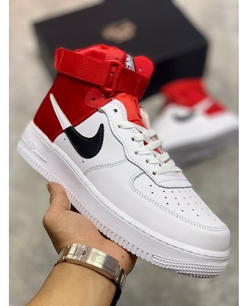 High Top Nike Air Force 1 Shoes White & Red