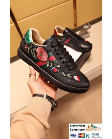 Hight Quality Gucci 2017 Black Couple Casual Shoes