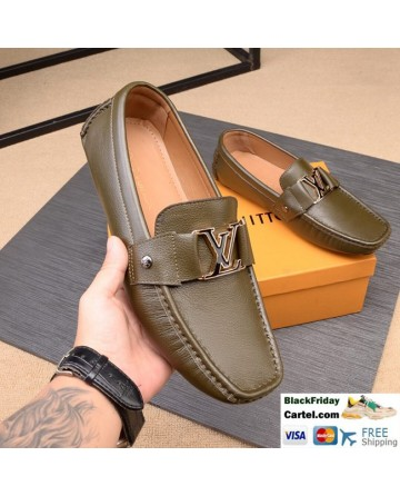 Hight Quality Louis Vuitton 2019 Men's Dark Green Casual Peas Shoes
