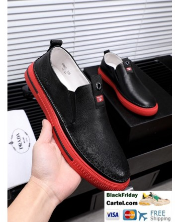 Hight Quality Prada 2019 Spring New Men'S Black And Red Casual Lazy Shoes