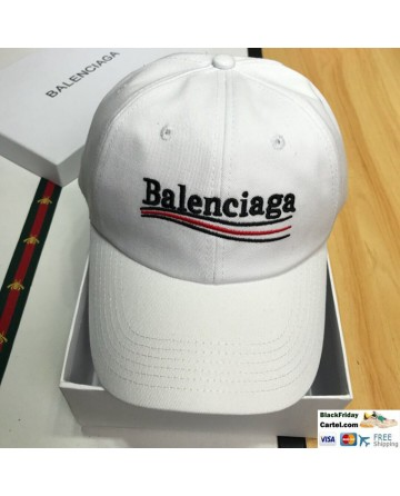 Iconic Balenciaga Bernie Logo Cap White Baseball Hat