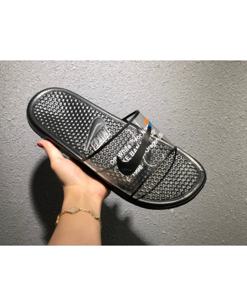 Replica Off White X Nike Black Transparent Slippers