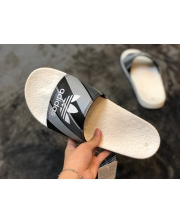 Adidas Boost Black Slippers With White Logo