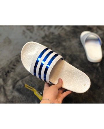Adidas Boost Blue&White Stripe Slippers