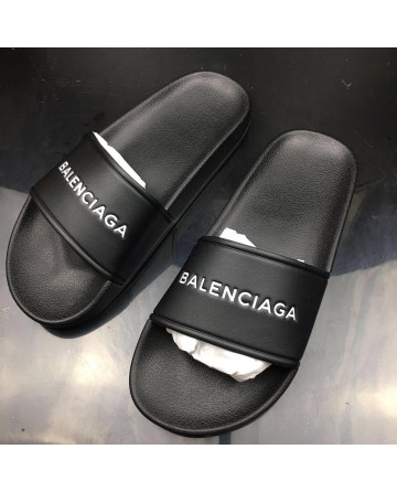 Balenciaga Piscine Black Slippers For Sale