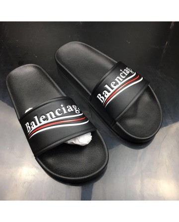 Balenciaga Piscine Slippers With Black Logo