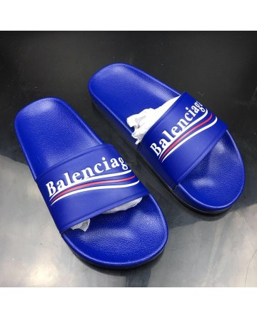 Balenciaga Piscine Slippers With Blue Logo