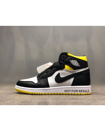 Replica Air Jordan AJ 1  Black&White&Yellow Running Shoes