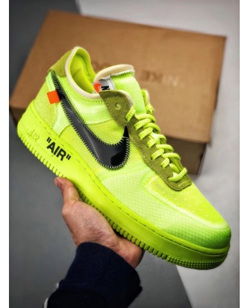 OFF WHITE X Nike Air Force 1 Low 2.0 Neon Green Shoes