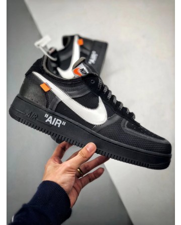 OFF WHITE X Nike Air Force 1 Low 2.0 Black Shoes For Sale