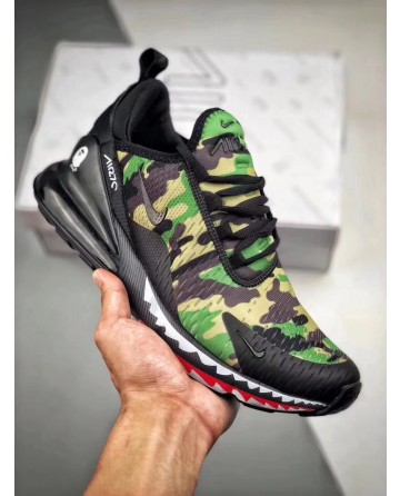 A Bathing APE X Nike Air Max270 Green Military Jogging Shoes
