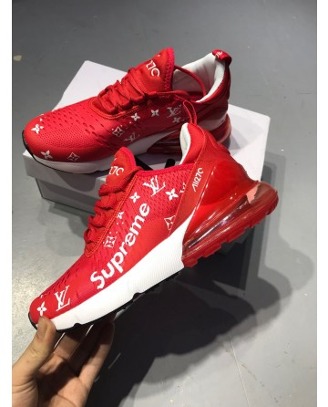 LV X Nike Air Max270 Red Jogging Shoes