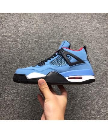 Air Jordan 4 X Travis Scott Cactus Navy Swede High Cut Shoes 1:1 Quality