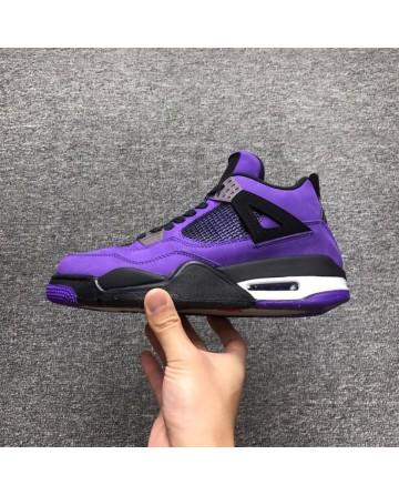 Air Jordan 4 X Travis Scott Cactus Purple Swede Shoes High Cut 1:1 Quality