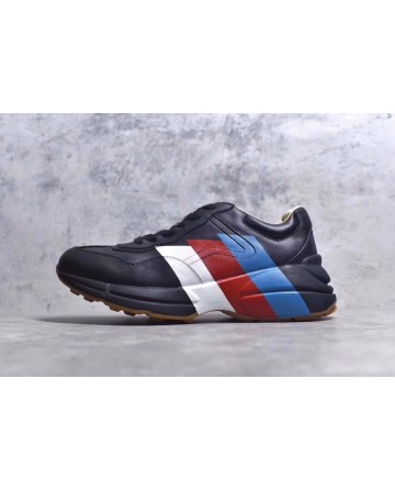 GUCCI Black Daddy Shoes With White&Red&Blue Logo