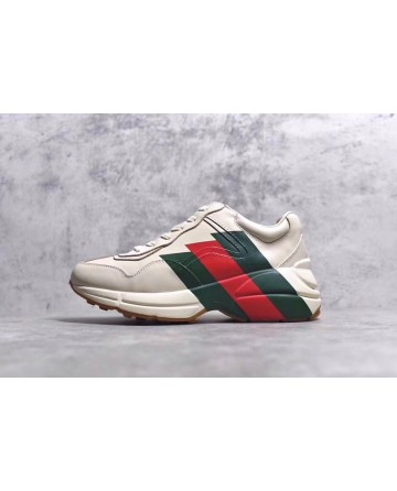 GUCCI White Daddy Shoes With Green&Red&Green Logo