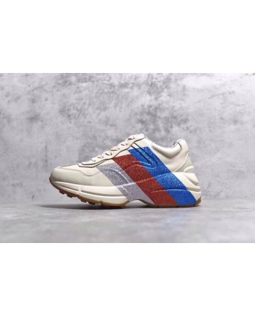 GUCCI White Daddy Shoes With Sliver&Red&Blue Logo
