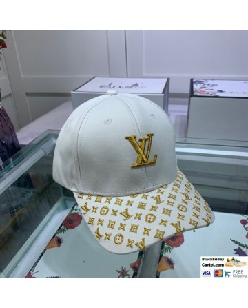 Louis Vuitton White Baseball Hat With Gold LV Logo