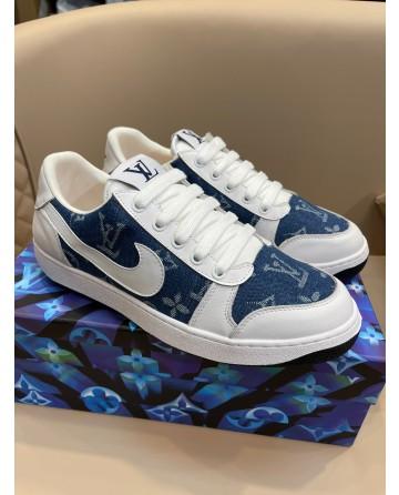 LV x Gucci x Nike Mens Sneaker Oblique Print CD Icon laces