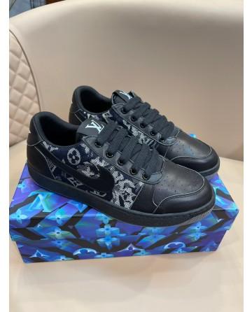 LV x Gucci x Nike Sneakers Black Oblique Print CD Icon laces
