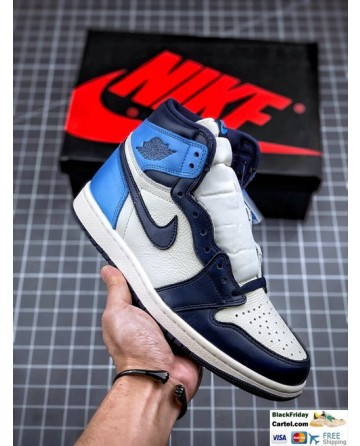 Men's Air Jordan 1 Retro High OG Shoes Black & White & Blue